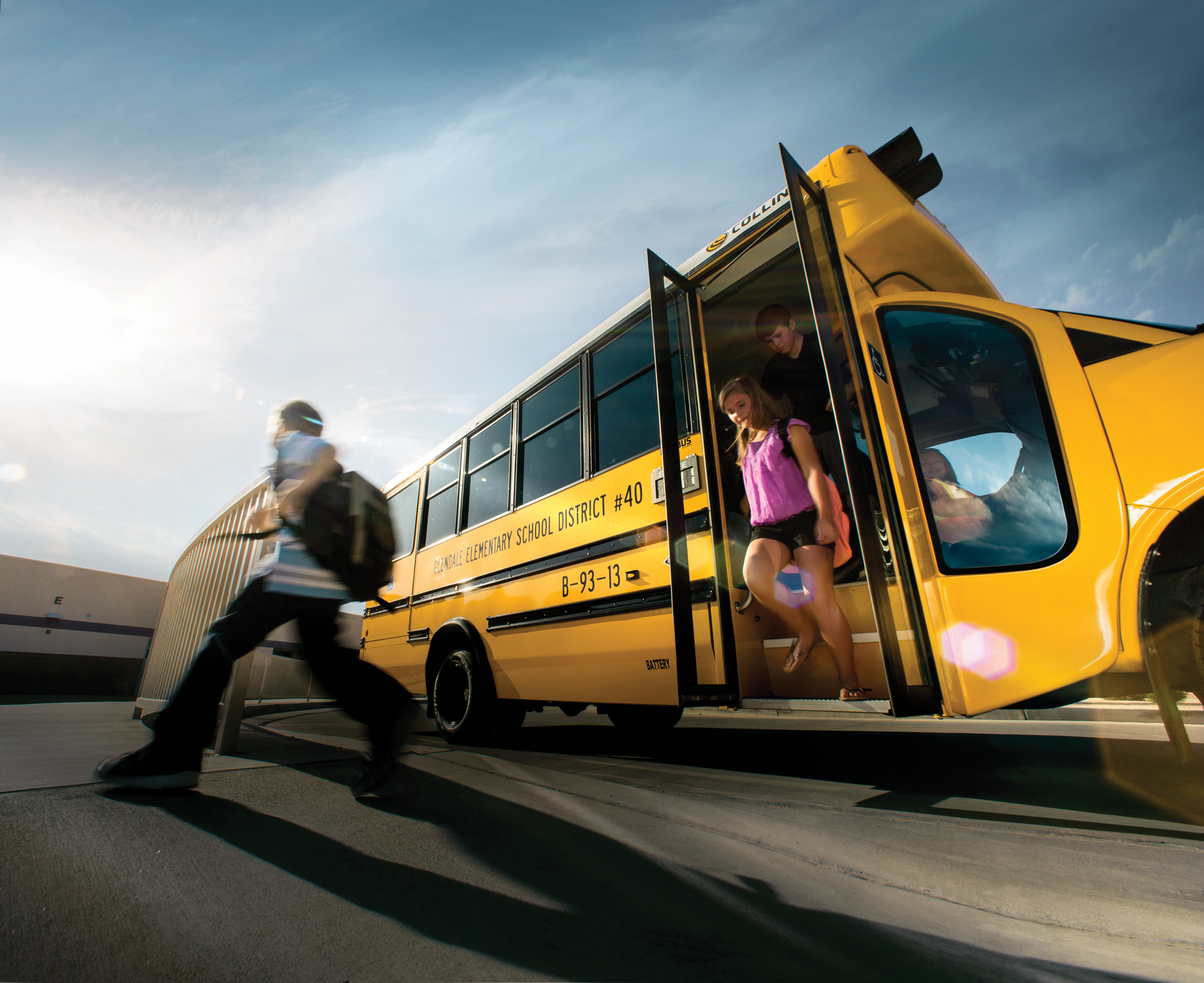 autogas powered school bus with kids exisiting the bus