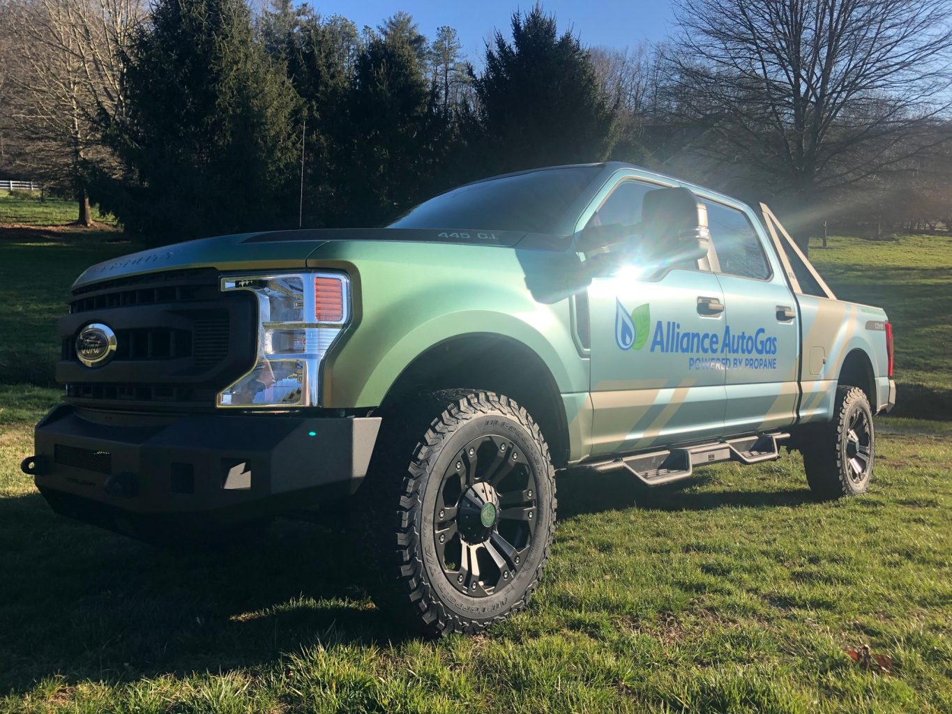 Alliance AutoGas wrapped Ford F250 Truck with 7.3L V8, 430 horsepower, 475 torque. Now running on clean-burning autogas.