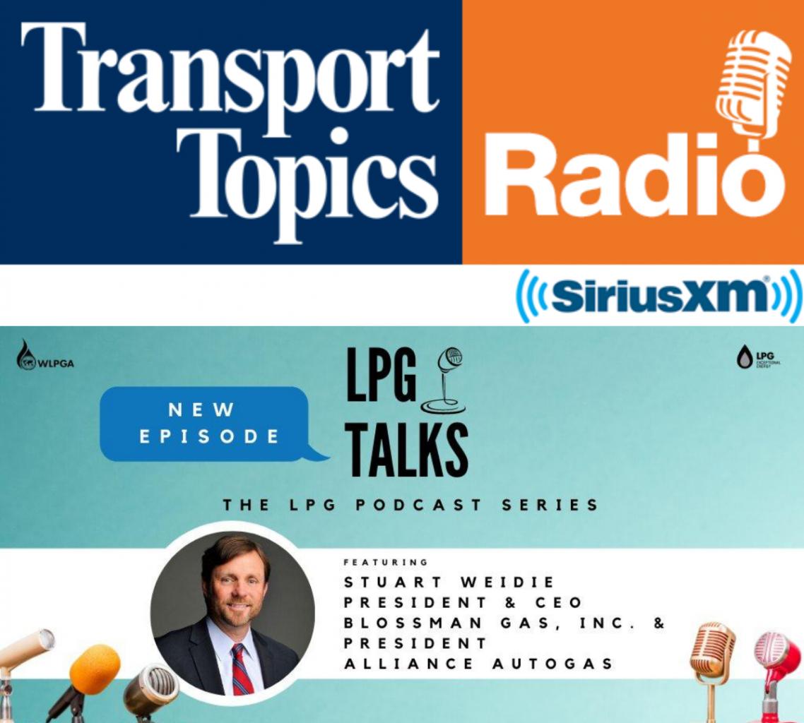 Transport Topics Radio Sirius XM logo and LPG Talks Podcast